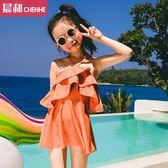 新款正韓親子游泳衣4-11歲兒童女童寶寶連體裙式荷葉邊度假溫泉