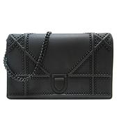 Dior 迪奧 黑色牛皮鏈條肩背斜背包 Diorama Studded Flap Bag【二手名牌BRAND OFF】