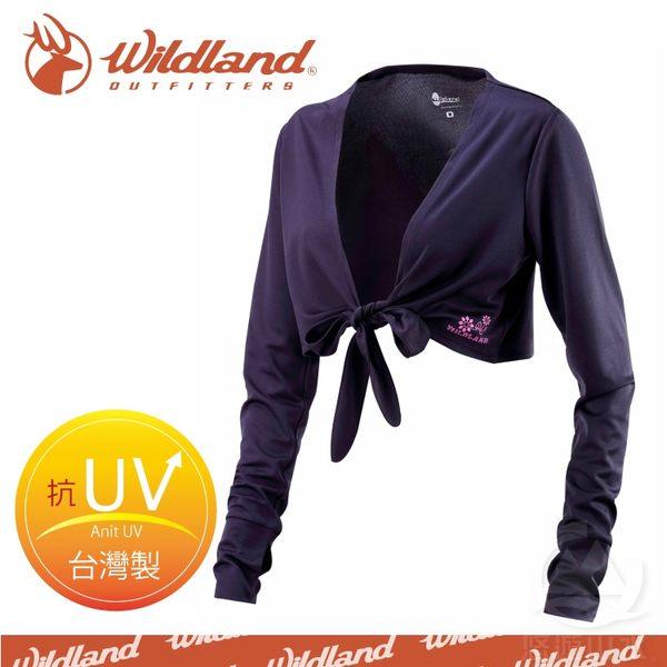 【Wildland 荒野 女 抗UV排汗綁帶袖套衣《/黑》】W1805-54/吸濕排汗/快乾/防曬外套/單車休閒防曬衣