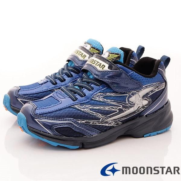 【MOONSTAR】日本月星競速童鞋-閃電3E寬楦撞色款-SSJ8175-藍黑-(19cm-24.5cm)