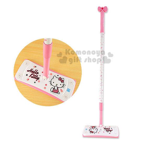〔小禮堂〕Hello Kitty 靜電除塵拖把《粉白.大臉》輕鬆美化空間4712918-90502