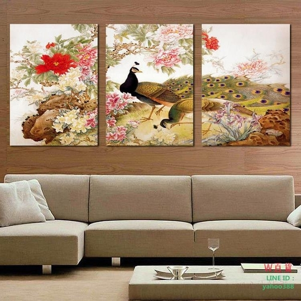 無框畫裝飾畫客廳掛畫牡丹孔雀圖客廳客廳三聯畫壁畫