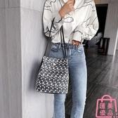 蕾絲手提包購物袋鏤空沙灘包刺繡側背包手袋包【匯美優品】