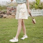短褲2021夏季新款工裝褲女高腰褲子寬鬆女士休閒五分褲 【七七小鋪】