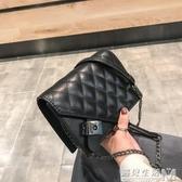 新款韓版chic錬條迷你小包包時尚小香風菱格單肩包潮搭斜背包  遇見生活