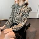 (下殺)印花襯衫女設計感設計款長袖上衣碎花雪紡衫上衣女【08SG05026】