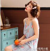 韓版吊帶睡裙睡衣女夏天無袖背心可愛純棉薄款家居服子 安妮塔小舖