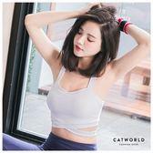 Catworld 純色交叉中高強度運動BRA背心【11500484】‧S/M/L