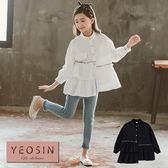 女童襯衫 立領褶皺車線不規則拼接長袖上衣 韓國外貿中大童 QB allshine