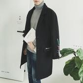 風衣外套-時尚翻領夾棉毛呢中長版刺繡男大衣2色73ip46【時尚巴黎】