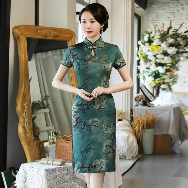 旗袍女短袖夏季2021年新款連衣裙矮個改良版中年媽媽夏裝復古遮肚 【韓語空間】