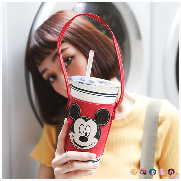 杯袋-迪士尼經典人物造型環保杯袋-共5色-A11110415-天藍小舖