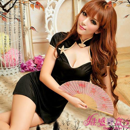 【性感寶盒】★東方佳人!小蓋袖旗袍睡襯衣★黑配金黃┌NA11030206