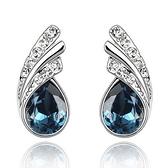 水晶耳環 925純銀耳針式-精緻鑲鑽生日情人節禮物女飾品4色73bd179【時尚巴黎】