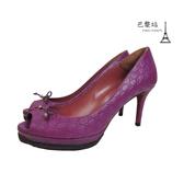 【巴黎站二手名牌專賣店】*現貨*GUCCI 古馳 真品*紫色壓紋皮革魚口高跟鞋 (36.5號)
