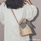 草編度假沙灘包包女2020新款韓版百搭斜背包洋氣仙女手提水桶女包 618購物節