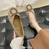 單鞋方頭單鞋瓢鞋女2021春款新款淺口晚晚風溫柔鞋一腳蹬平底豆豆鞋子 阿卡娜