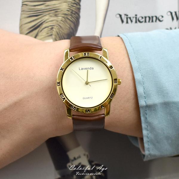 韓國手錶 LAVENDA復古羅馬金框皮革錶NEKL11