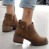 短靴.簡約時尚圓頭側V低跟短靴.白鳥麗子
