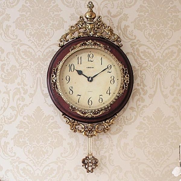 歐式掛鐘客廳創意墻面壁鐘藝術復古美式大氣鐘表時鐘家用掛表奢華 小宅君
