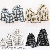 彼兔 betwo.收納袋 QQC*3件1組售多款棉麻圖案抽繩束口收納袋【259-AN22】06990990現貨
