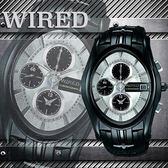 【僾瑪精品】WIRED 骷髏騎士三眼計時腕錶-黑/38x43mm/7T92-X121N(AF8J43X)