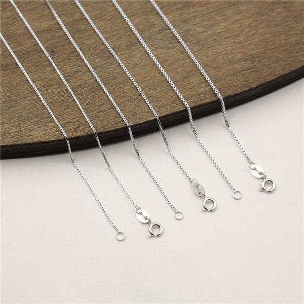 艾銀飾品 S925純銀項鏈 長款女生盒子鏈 無吊墜裸鏈頸鏈 鎖骨鏈子