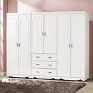 【森可家居】安東烤白色8尺衣櫥組 8SB030-1 衣櫃 法式鄉村風