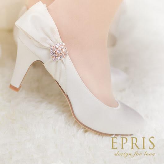 現貨 小中大尺碼新娘婚鞋推薦 純潔雅典娜 蝴蝶結水鑽高跟鞋 22-25.5 EPRIS艾佩絲-浪漫白色