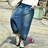 垮褲 艾爾莎 個性寬鬆深色刷白低檔垮褲牛仔長褲【TAE4079】