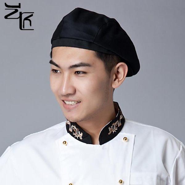 酒店廚師前進帽服務員貝雷帽西餐廳廚師帽男女工作帽定制棉帽黑色
