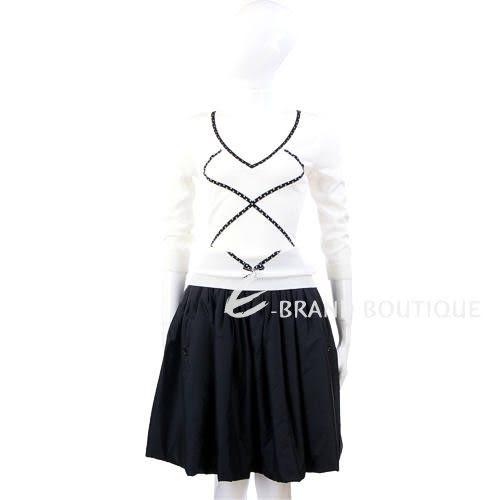 VALENTINO 蝴結圖飾七分袖上衣(白色) 0620290-20