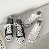帆布鞋 秋裝正韓新款拼色百搭系帶帆布鞋平底鞋學生板鞋運動鞋女-Ballet朵朵