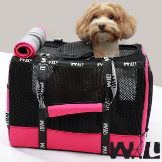 WILL設計+寵物用品*最新黑網系列*超透氣款式  寵物 提籃 / 袋 / 外出包☆黑網x桃紅