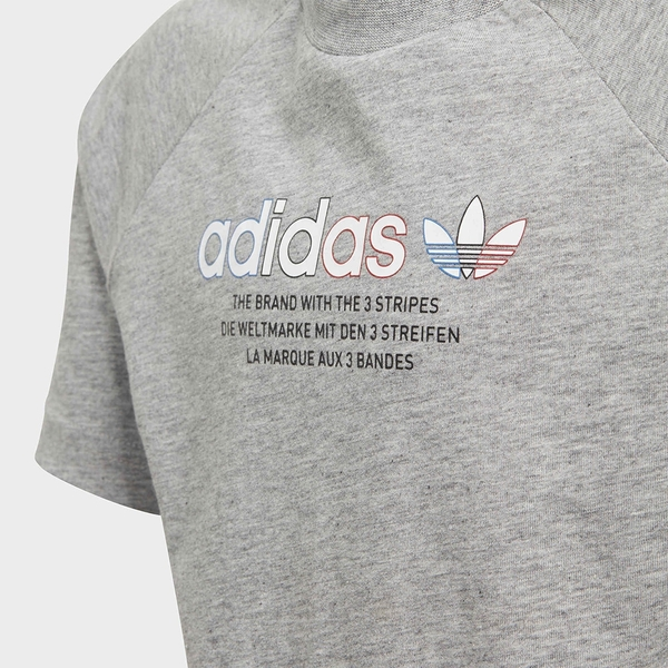 ADIDAS ADICOLOR GRAPHIC TEE 童裝 短袖 T恤 三葉草 純棉 灰【運動世界】GN7428