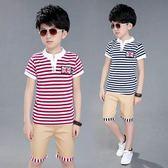 夏季新款條紋韓版潮流T恤兒童短袖兩件套 QQ267『優童屋』