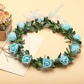 [藍色玫瑰花 人造花髮帶 仿真花花圈 花冠假花環] 婚禮小物 生日禮物 求婚&畢業表演花禮