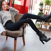 黑色打底褲女外穿薄款高腰圓環拉鏈秋2018新款韓版顯瘦九分小腳褲  橙子精品