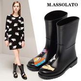 雨靴 時尚防水鞋小馬靴套鞋水靴防滑雨靴中筒膠鞋雨鞋女 莎瓦迪卡