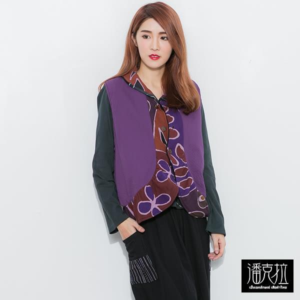 染花邊拼接背心(紫色)-F【潘克拉】