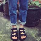 涼鞋 韓國 現貨ulzzang經典款暗黑百搭涼鞋zipper 魔鬼氈好穿簡約三條 黑色涼鞋 情侶 涼鞋 男女可穿