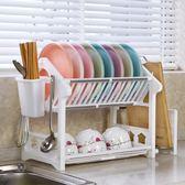 雙層特大號家用廚房用品放碗筷收納盒瀝水碗架水槽塑料收納置物架推薦 任選1件享8折