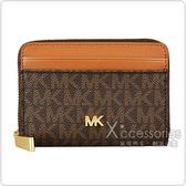 MICHAEL KORS MOTT金字LOGO PVC 8卡拉鏈零錢包(深咖啡x橡子棕)