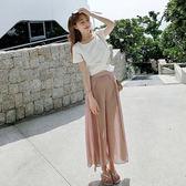 Qmigirl 法國小眾減齡氣質夏季寬口褲兩件套裝 上衣 褲子【T1459】