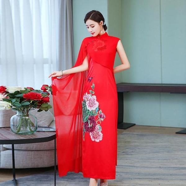 長款旗袍春夏季新款女改良版中國風端莊大氣優雅顯瘦宴會旗袍