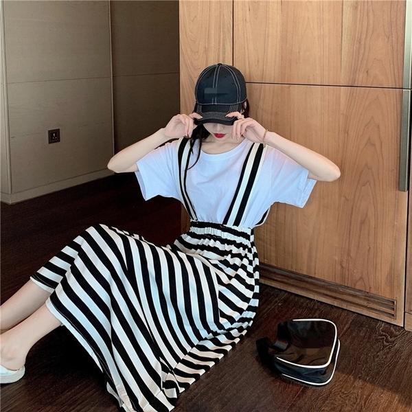 吊帶裙 韓系夏季吊帶條紋長裙 休閒吊帶連身裙 黑白條紋 依米迦