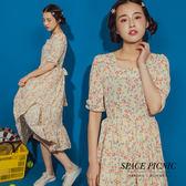 洋裝 Space Picnic 夏日碎花方領雪紡綁帶洋裝(現+預)【C19061067】