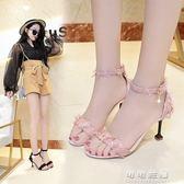 女夏韓版百搭甜美花邊布面露趾涼鞋一字扣細跟高跟鞋中跟可可鞋櫃