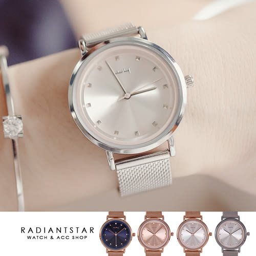 韓國WEIYA愛像一首歌簡約放射紋金屬米蘭鍊帶手錶【WWY139】璀璨之星☆