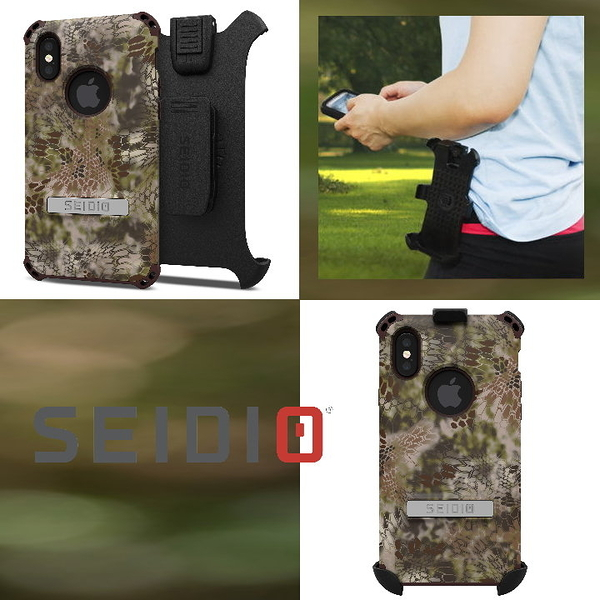 SEIDIO DILEX KRYPTEK迷彩聯名款Combo軍規防摔 四角防撞保護殼 含背夾 皮帶扣 iPhone X / Xs 5.8吋